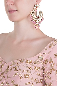 Gold plated pearl and pink stone long chandbali earrings