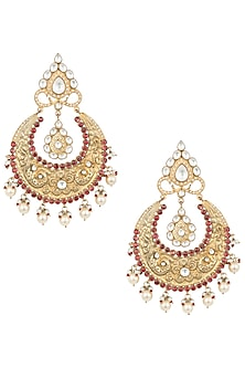 Gold plated pearl and red stone big chandbali earrings by MOH-MAYA BY DISHA KHATRI