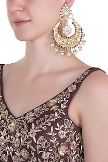 Gold plated pearl and red stone big chandbali earrings