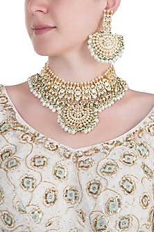 Gold plated pearl and kundan choker necklace set