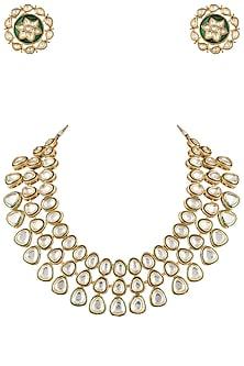 Gold plated kundan and emerald layered necklace set by MOH-MAYA BY DISHA KHATRI