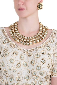Gold plated kundan and emerald layered necklace set