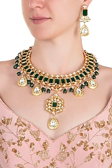 Gold plated kundan, stone and emerald big necklace set