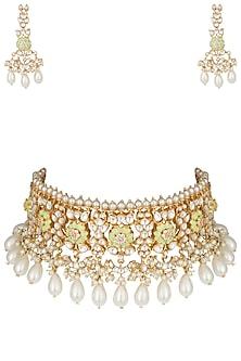 Gold plated lime green choker necklace set by MOH-MAYA BY DISHA KHATRI