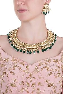 Gold plated emerald and pearl meenakari choker necklace set by MOH-MAYA BY DISHA KHATRI