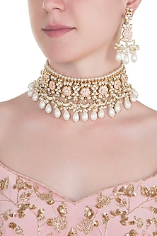 Gold plated rose pink pearl choker necklace set