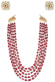 Gold plated 5 layered ruby and pearl necklace set by MOH-MAYA BY DISHA KHATRI