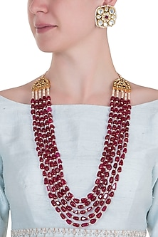Gold plated 5 layered ruby and pearl necklace set