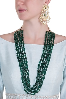 Gold plated 5 layered long emerald necklace set