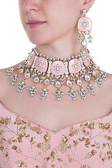 Gold plated rose pink stone necklace set by MOH-MAYA BY DISHA KHATRI