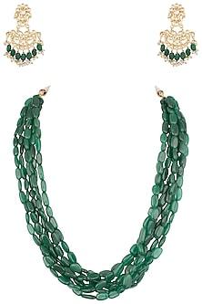 Gold plated semi precious emerald stone necklace set by MOH-MAYA BY DISHA KHATRI
