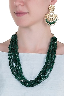 Gold plated semi precious emerald stone necklace set