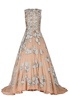 Peach Leaf Embroidered Gown