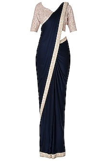 Navy Blue Embroidered Saree with Blouse Set