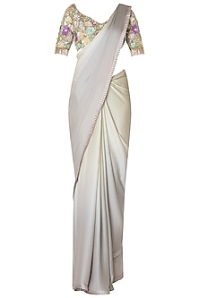 Grey and Sage Green Fringes Saree with Multi-Colored Embroidered Blouse.