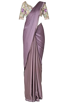 Lilac Tassels Saree with Ivory Sequins Embroidered Blouse Set