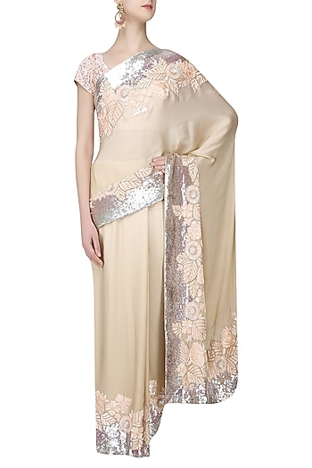 Cream and Beige Shaded Resham and Sequins Saree with Blouse Piece by Manish Malhotra