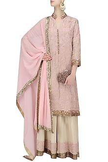 Baby Pink Tilla Embroidery Kurta with Cream Sharara Pant and Baby Pink Dupatta by Manish Malhotra
