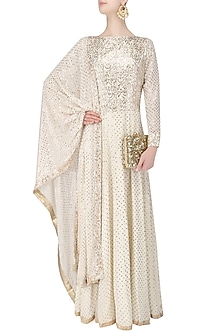 Ivory Badla Embroidered Kurta Set by Manish Malhotra