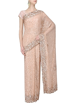 Peach and Gold Sequins Chitta Flower Saree with Peach Blouse by Manish Malhotra
