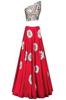 Red Flower Embroidered Lehenga with Sequins Sheeted One Shoulder Crop Top