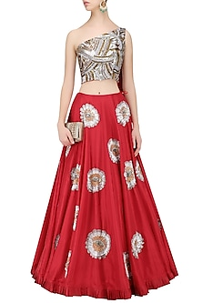 Red Flower Embroidered Lehenga with Sequins Sheeted One Shoulder Crop Top by Manish Malhotra