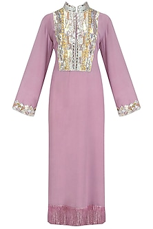 Lavender Embroidered Tasseled Tunic by Manish Malhotra