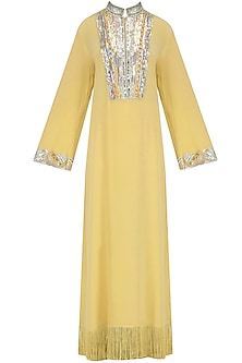 Lemon Embroidered Tasseled Tunic