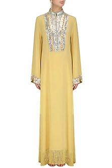 Lemon Embroidered Tasseled Tunic by Manish Malhotra