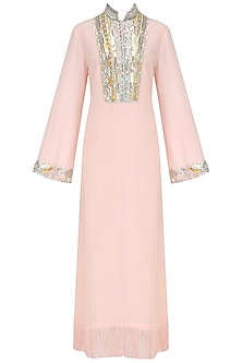 Pink Embroidered Tasseled Tunic