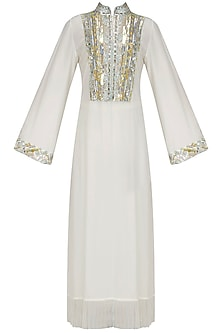 Ivory Embroidered Tasseled Tunic by Manish Malhotra