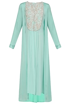 Aqua Blue Pearl Embroidered Tunic by Manish Malhotra