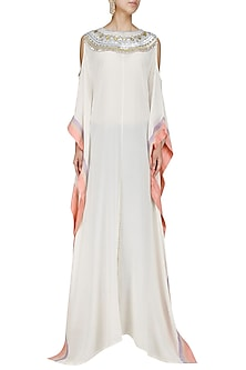 Ivory Sequins Embroidered Kaftan by Manish Malhotra