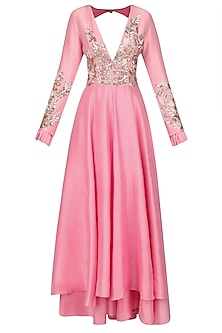 Pink Pearl and Sequins Embroidered Kurta Set by Manish Malhotra