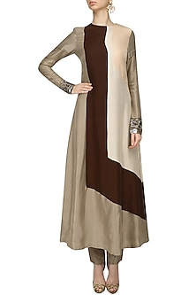 Beige, Brown and Cream Kurta and Pants Set by Manish Malhotra