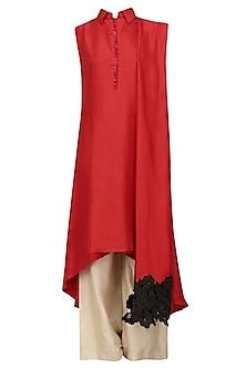 Red and Black Lace Border Drape Kurta and Pants Set