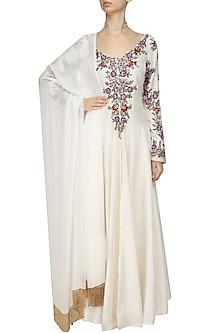 Off White Resham Embroidered Kurta and Pants Set by Manish Malhotra