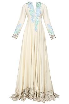 Cream Resham Embroidered Kurta and Palazzo Pants Set by Manish Malhotra