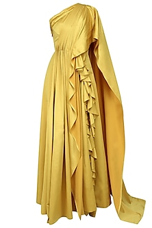 Yellow One Shoulder Drape Gown with Embroidered Waistband by Manish Malhotra