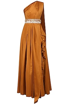 Rust One Shoulder Drape Gown with Embroidered Waistband