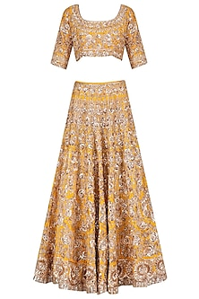 Mango Colour Flowers Sequins Embroidered Lehenga Set by Manish Malhotra