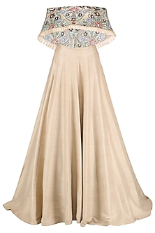 Soft Peach Resham Embroidered Off Shoulder Blouse with Plain Lehenga