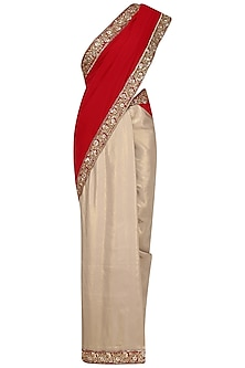 Gold Lame and Red Embroidered Saree with Red Velvet Blouse Piece