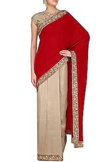 Gold Lame and Red Embroidered Saree with Red Velvet Blouse Piece by Manish Malhotra