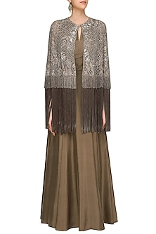 Oyster Colour Kalidaar Set with Oyster Sequins Jaal Embroidery Short Cape by Manish Malhotra