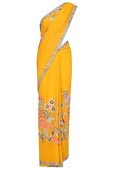 Mustard Yellow Resham and Sequin Jaal Embroidered Saree