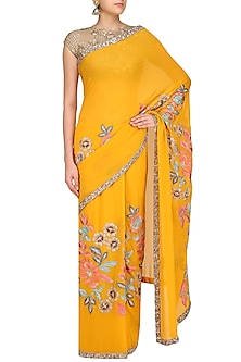 Mustard Yellow Resham and Sequin Jaal Embroidered Saree by Manish Malhotra