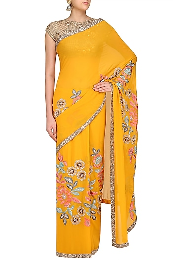 Mustard Yellow Resham and Sequin Jaal Embroidered Saree by Manish Malhotra