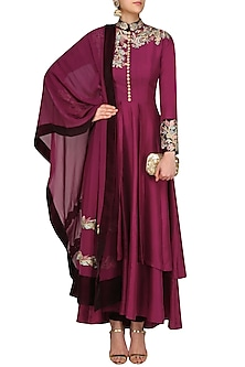 Purple Resham Embroidered Anarkali Set by Manish Malhotra