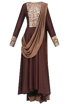 Coffee Brown Resham Embroidered Anarkali Set with Beige Attached Draped Dupatta by Manish Malhotra